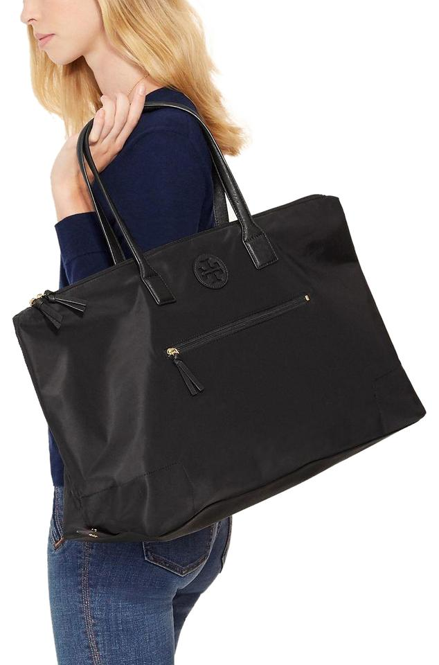 01b59290b1e Tory Burch Ella New Large Packable Tote Black Nylon Weekend Travel ...