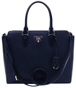 3e118e976dbd Prada Lux Women s Saffiano Handbag 1ba189 Navy Blue Leather Satchel ...