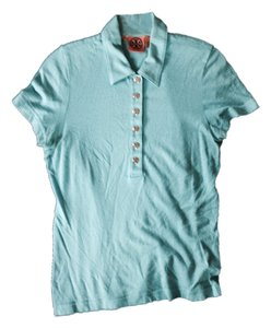 Tory Burch Designer Casual Polo Everyday Comfortable Summer Spring Stretch Fabric Light Brass Buttons Traditional Casual Tops T Shirt Blue