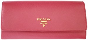 Prada NEW! Saffiano Leather Continental Long Wallet in Peonia Pink 1M1132