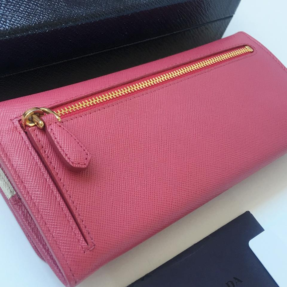9000d3b6b29a Prada NEW! Saffiano Leather Continental Long Wallet in Peonia Pink 1M1132  Image 6. 1234567