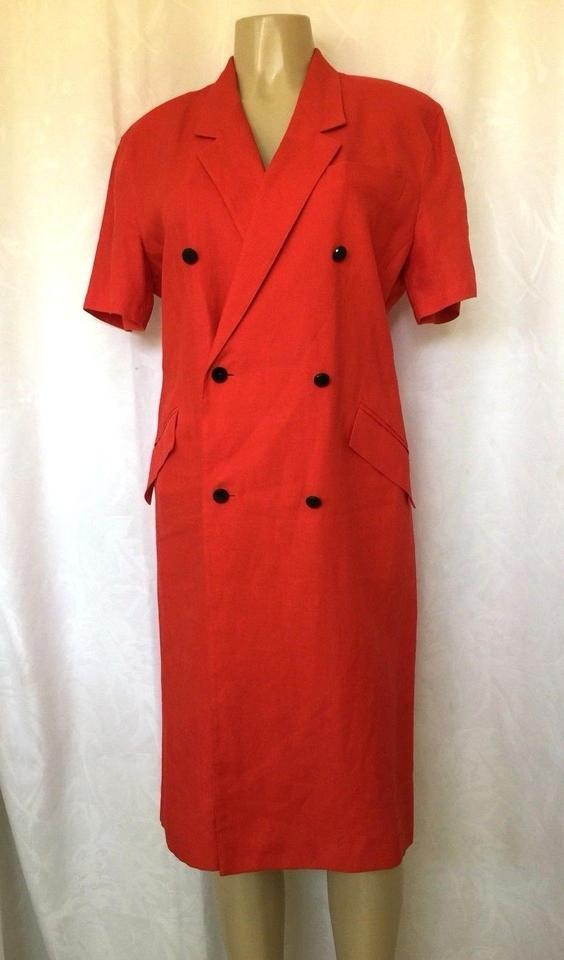 0e3b0dace50 Max Mara Red Linen Double Breast Sleeve Knee Length Short Casual Dress. Size   12 ...