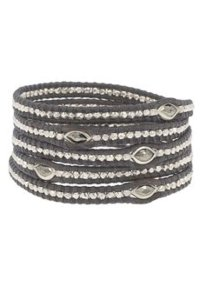 Chan Luu Chan Luu 5-wrap Black Leather Bracelet with Silver & Marquise Pyrite