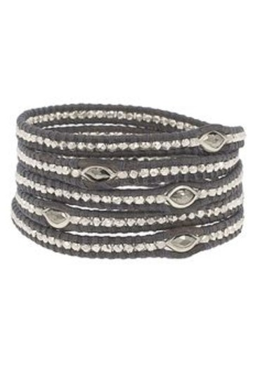 Chan Luu Chan Luu 5-wrap Black Leather Bracelet with Silver & Marquise Pyrite Image 2