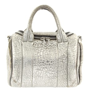 Alexander Wang Metallic Metallic Hardware Studded Rockie Pebbled Satchel in Silver