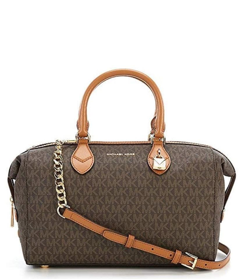 6d07808555c9 ... canada michael kors grayson signature convertible brown pvc leather  satchel 1f993 63c63