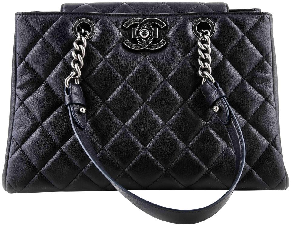 e90f854706ee0e Chanel Shopping Quilted City Rock Navy Goat Skin Leather Shoulder ...