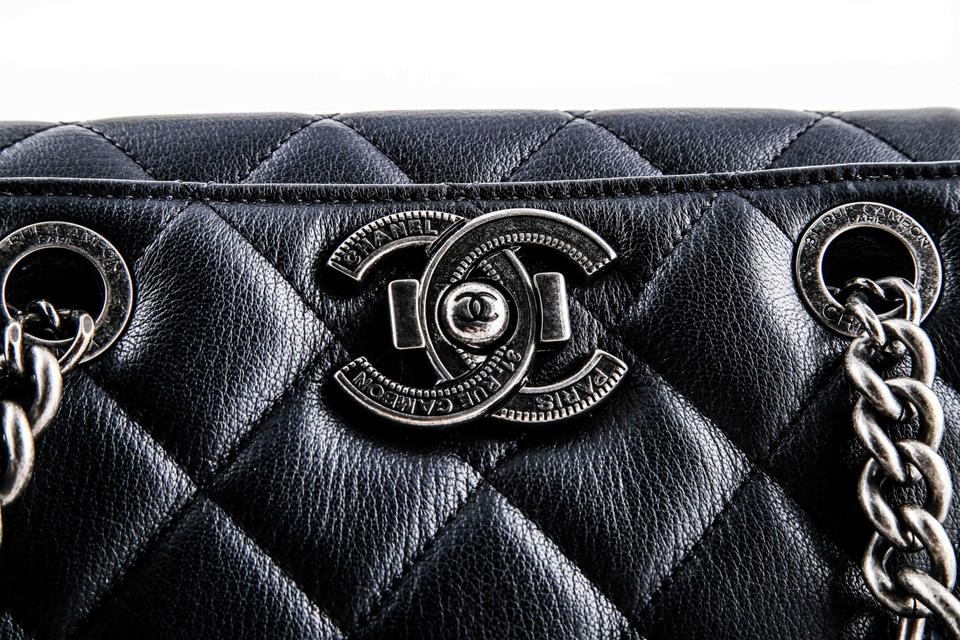 8f335f67563b52 Chanel Shopping Quilted City Rock Navy Goat Skin Leather Shoulder Bag -  Tradesy