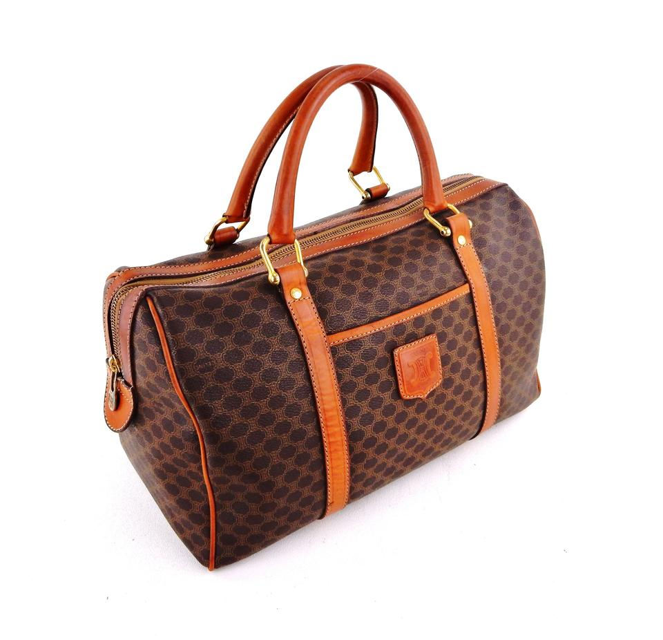 1b8d133d4b Céline Boston 35 Small Duffle Brown Macadam Canvas Leather Tote ...