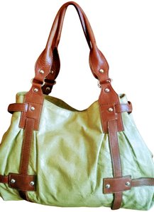 Tano Satchel in chartreuse and brown