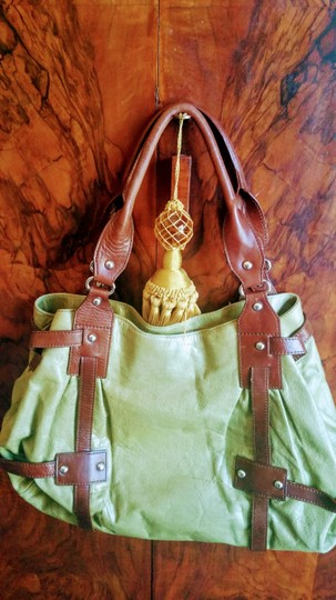 Tano Satchel in chartreuse and brown Image 1