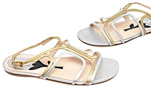 Prada Leather Strappy Silver Gold Sandals
