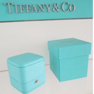 Tiffany & Co. Tiffany & Co Presentation Blue Leather Engagement Ring Box and Blue Bo