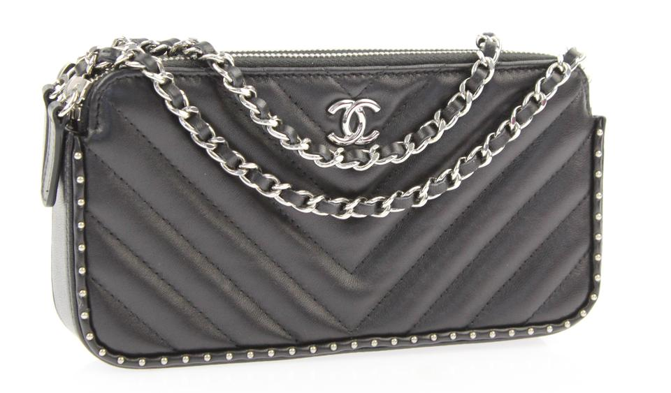 d0c153e6ceed Chanel Clutch Chevron Studded with Chain Black Lambskin Leather Cross Body  Bag - Tradesy