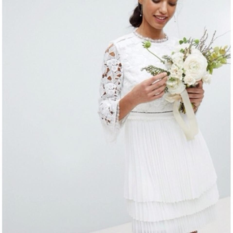 Ted Baker White Lace Stefoni Pleated Destination Wedding Dress Size