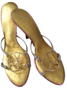 Giuseppe Zanotti Peace Love Happiness Silver, gold & pink Sandals