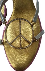 Giuseppe Zanotti Peace Love Happiness Bling Designer Darling Sexy Mules Silver, gold & pink Sandals