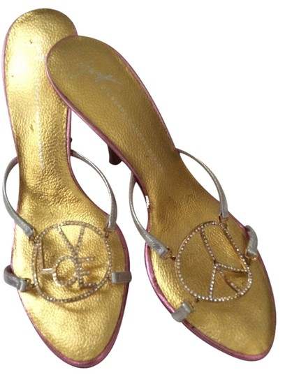 Giuseppe Zanotti Peace Love Happiness Bling Designer Darling Sexy Mules Silver, gold & pink Sandals Image 1