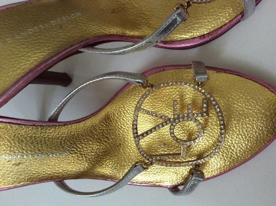 Giuseppe Zanotti Peace Love Happiness Bling Designer Darling Sexy Mules Silver, gold & pink Sandals Image 2