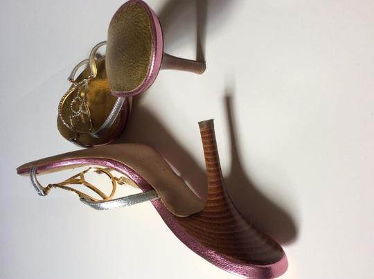 Giuseppe Zanotti Peace Love Happiness Bling Designer Darling Sexy Mules Silver, gold & pink Sandals Image 5