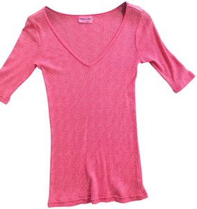 Michael Stars Sparkle Fabric V-neck Elbow Length Sleeves Top Pink