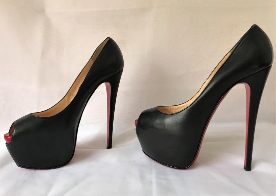 003ddbbc45f Christian Louboutin Black Highness 40.5it Lady Daf Red Sole Peep Toe High  Heel Leather Platform Pumps Size EU 40.5 (Approx. US 10.5) Regular (M