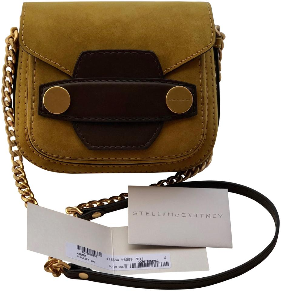 78e302362999 Stella McCartney Popper Crossbody Mustard Yellow Faux Suede Shoulder ...