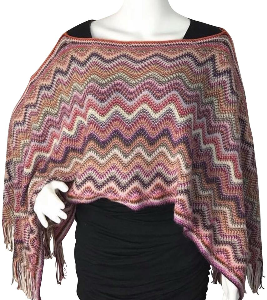 e7af594296 Missoni Pink Multi-color Zigzag Knit Poncho Cape Size OS (one size ...