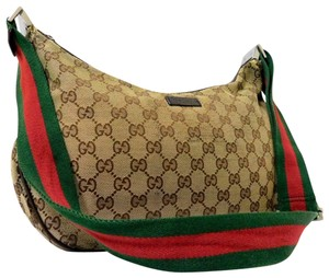 f332023a203a Gucci Hobo/Cross Body Excellent Vintage Long Red/Green Sherry Hobo Bag