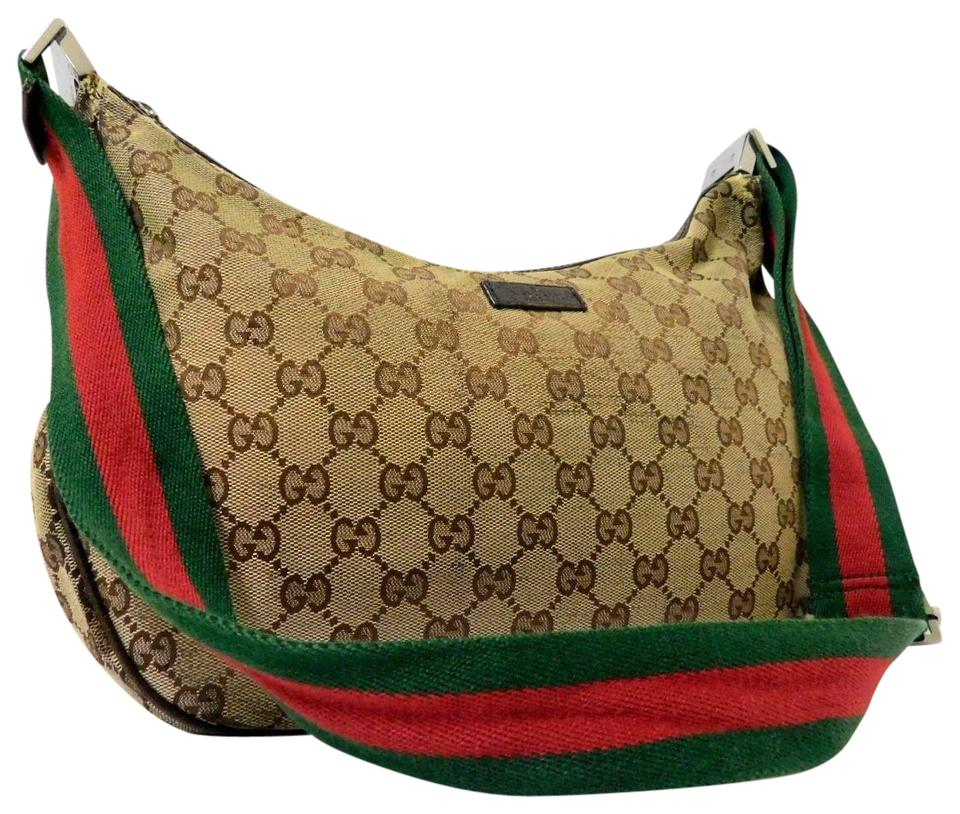 Gucci Hobo Cross Body Excellent Vintage Long Red Green Sherry Hobo Bag ... 763a55855d3fb