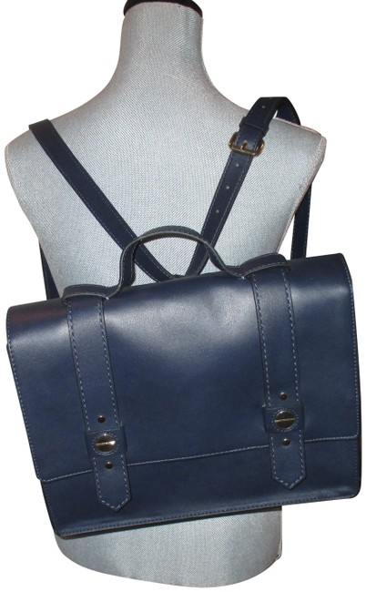 Item - Backpack 2 In 1 Convertible Blue Leather Cross Body Bag