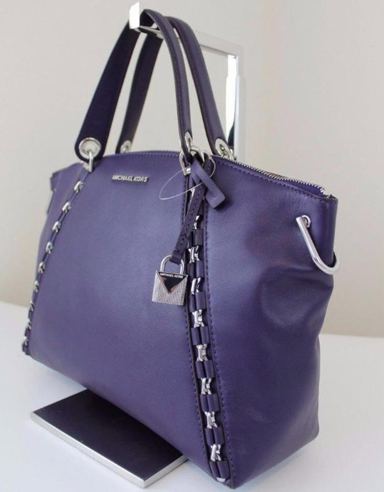 58ff9d81cf07 Michael Kors Sadie Large Tz Top Iris Purple Leather Satchel - Tradesy