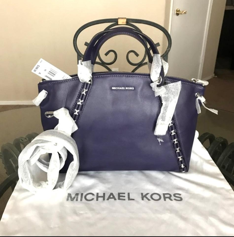 96344d92d41a Michael Kors Leather Womens Top Zip Satchel in Iris purple Image 10.  1234567891011
