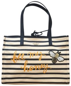 Kate Spade Be My Honey Shoulder Tote in Natural and Black