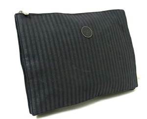 Fendi Clutch/Cosmetic Excellent Vintage Chic European Style Dressy Or Casual black and grey thin stripe print coated canvas and pequin leather Clutch