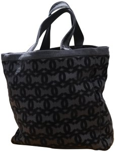 877e78ac332e Chanel Rare Collectible Summer Pool Party Towel Cc Tote Black Cotton ...
