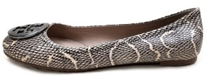 Tory Burch Snake-embossed Round Toe T Logo Medallion Leather Lining Black/ Natural Flats