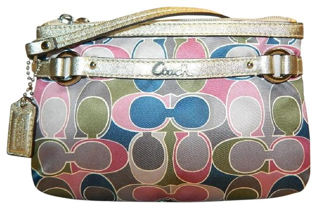 Coach New~beautiful Gallery Signature Scarf Print Medium Pink/Mauve/Green/Blue/Dark Grey/Metallic Gold/Silver Sateen/Leather Wristlet Coach New~beautiful Gallery Signature Scarf Print Medium Pink/Mauve/Green/Blue/Dark Grey/Metallic Gold/Silver Sateen/Leather Wristlet Image 1