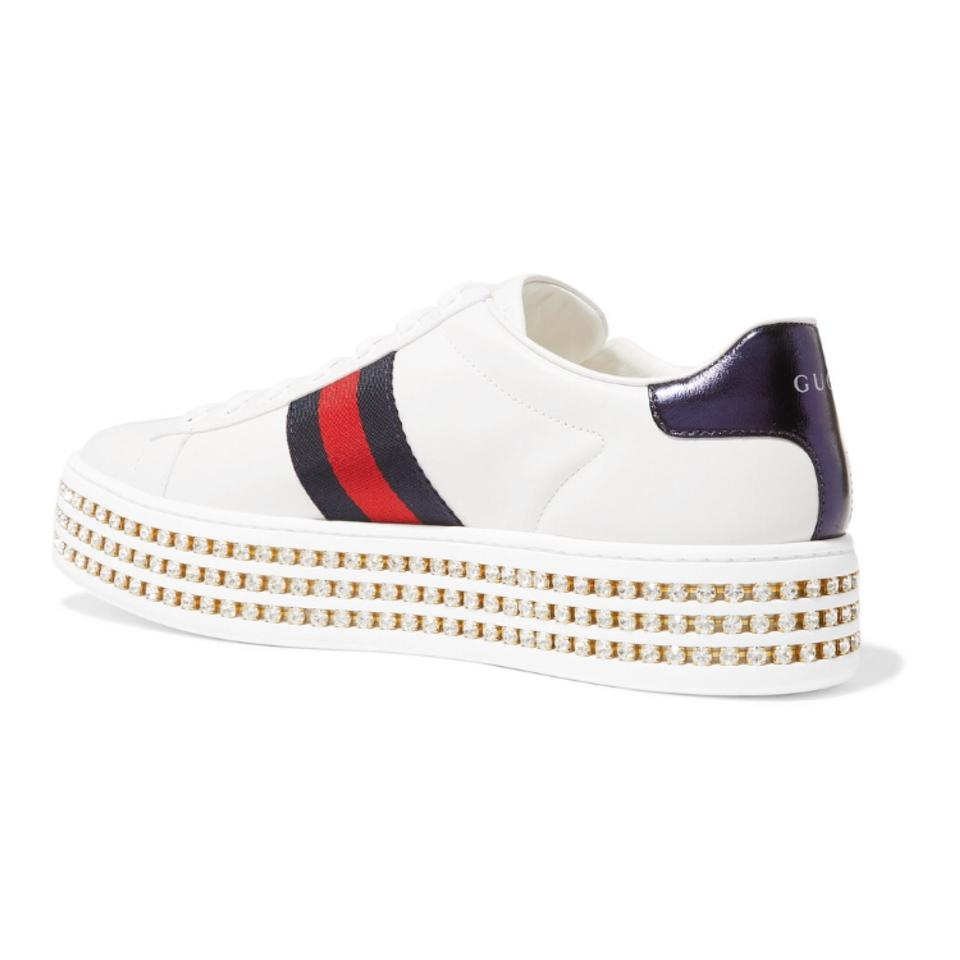 c2ae6f57751e Gucci Ace Crystal Embellished Platform Leather Sneakers Sneakers ...