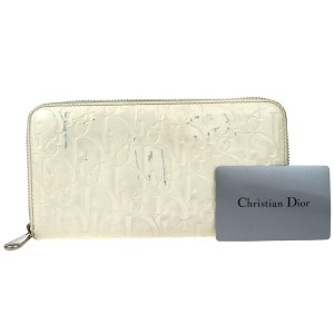 Dior Christian Dior Trotter Zipper Long Wallet Bag Patent Leather White