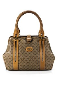 Gucci Doctor's Hinged Top Opening Rare Early Excellent Vintage Satchel in brown small G logo print canvas and camel leather