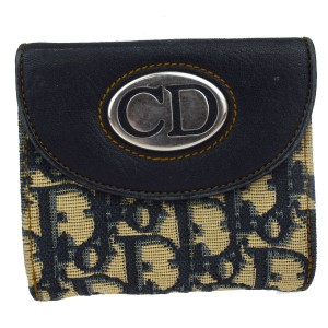 Dior Christian Dior Trotter Pattern Bifold Wallet Purse Canvas Leather Blue