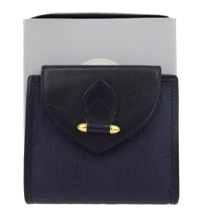 Dior Christian Dior Trotter Pattern Bifold Wallet Purse PVC Leather Blue