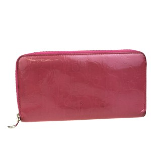 Dior Christian Dior Trotter Pattern Bifold Wallet Purse Patent Leather Pink