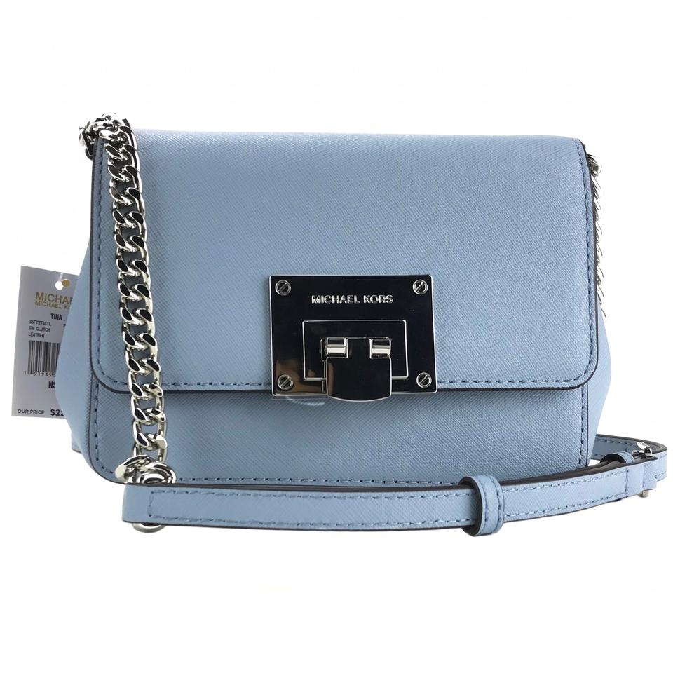 a88a9a664737 Michael Kors Tina Small Clutch with Shoulder Strap Blue Leather Cross Body  Bag