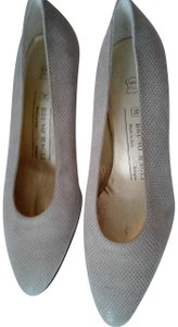 Bruno Magli Taupe Snake Embossed Leather Beige Pumps