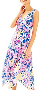 Brilliant Blue Catch And Release Maxi Dress by Lilly Pulitzer Neon Print Hi Low Hem Assymetrical Sloane