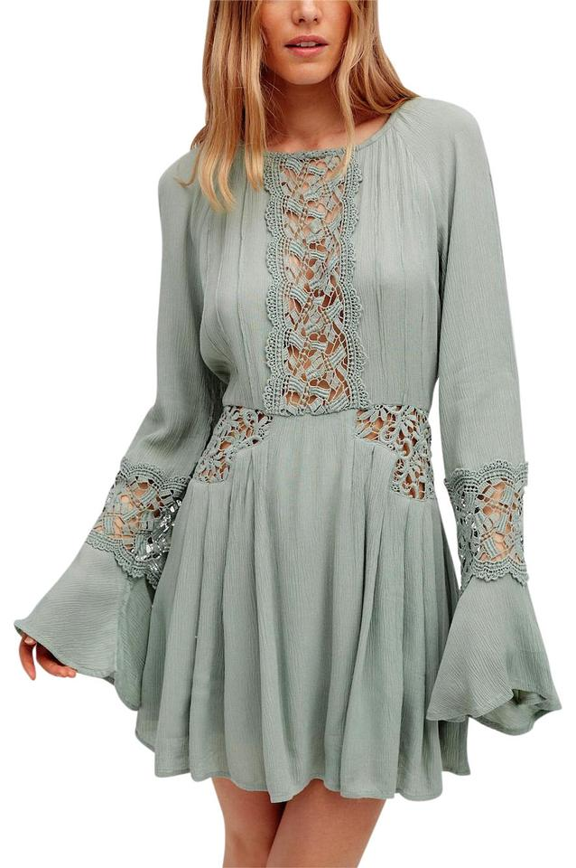 0eb311849ce1 Free People short dress Sage Green Light Green Fp Swingy Tunic Raw Floral  Mesh ...