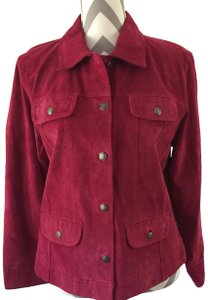 Chico's Suede Red Leather Jacket