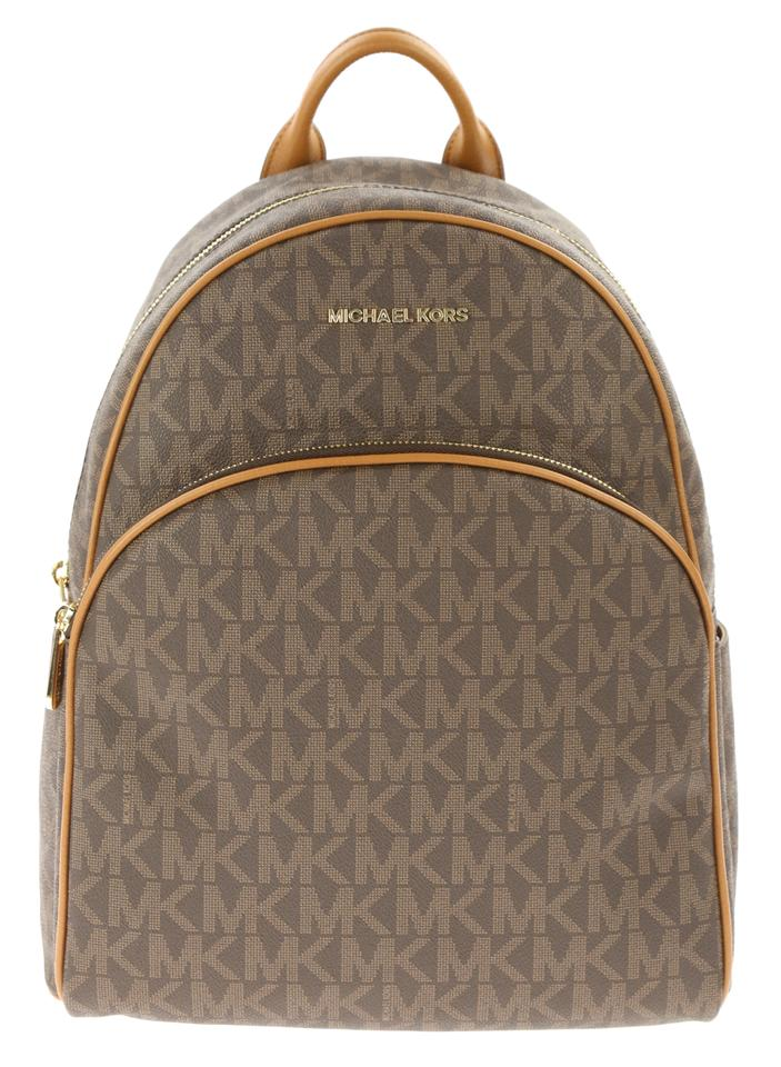 64f12ddfc MICHAEL Michael Kors Large Abbey Brown Coated Canvas Backpack - Tradesy